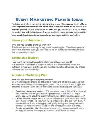 event marketing plan ideas