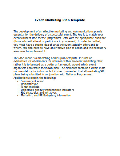 event marketing plan in word