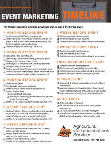 event marketing timeline