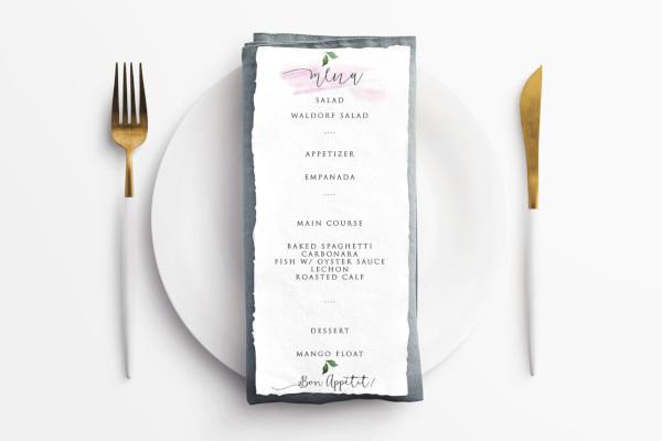event menu cards