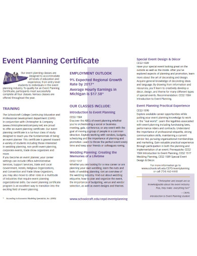 event planning certificate