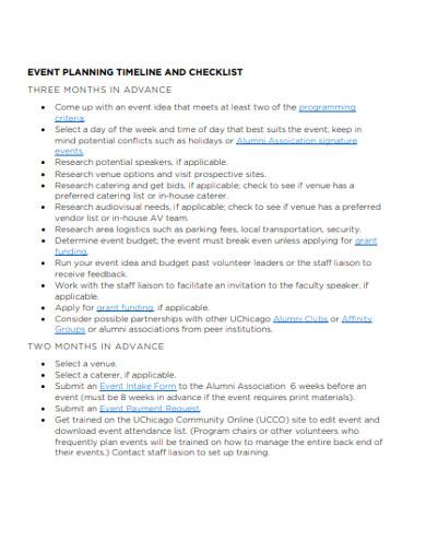 event planning timeline checklist
