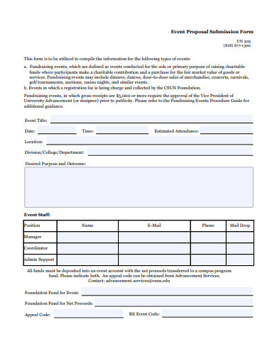 event proposal submission form