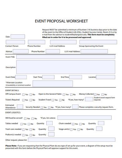 event proposal worksheet
