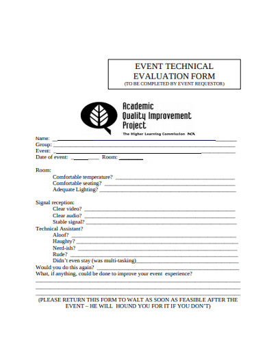 event technical evaluation form