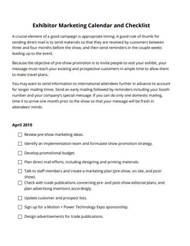 exhibitor marketing calendar and checklist