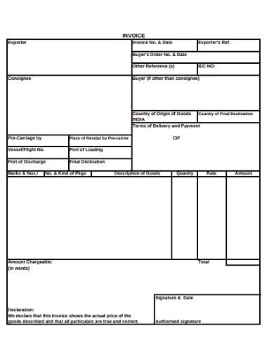 exporter invoice