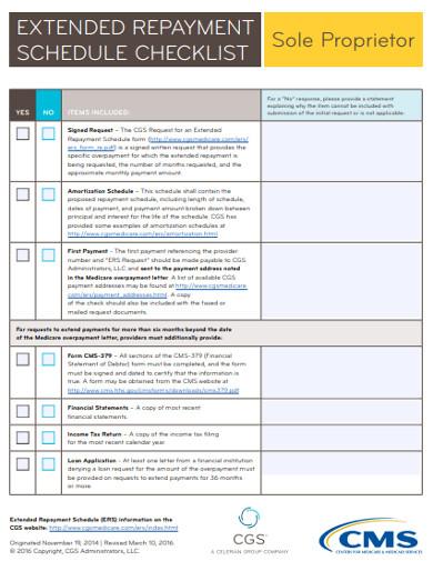 extended repayment schedule checklist