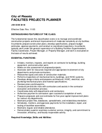 facilities project planner