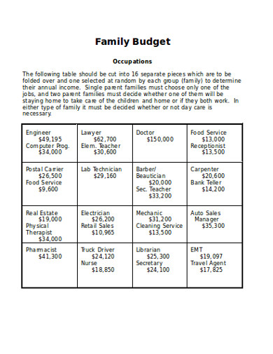 family budget in word