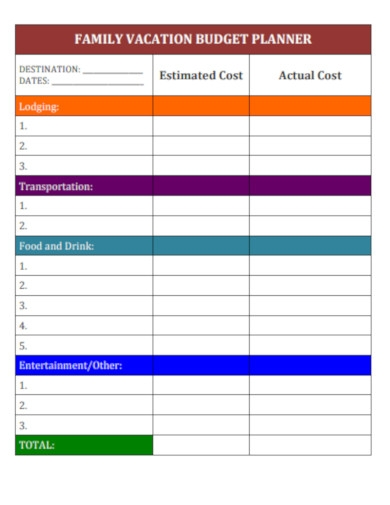 family vacation budget planner