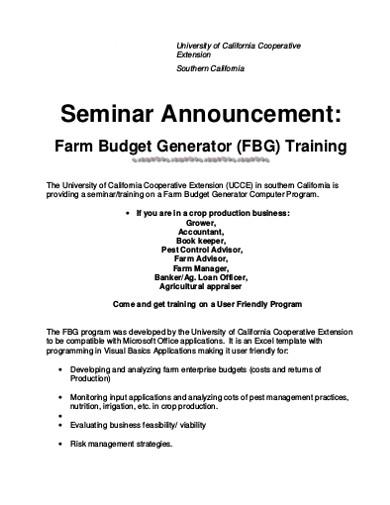 farm budget generator