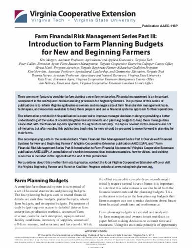 farm planning budgets