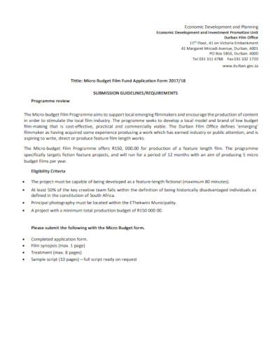film budget fund application