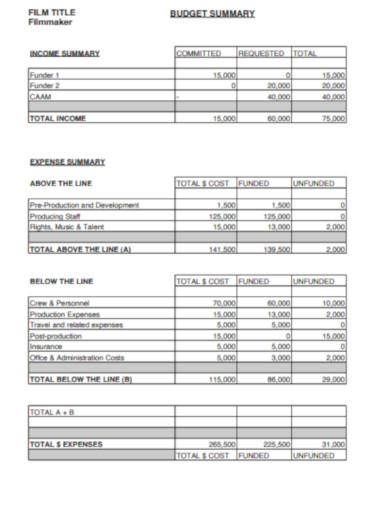 film budget summary
