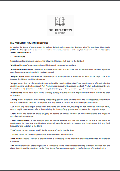 film production terms and conditions contract