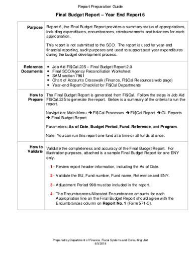 final budget report