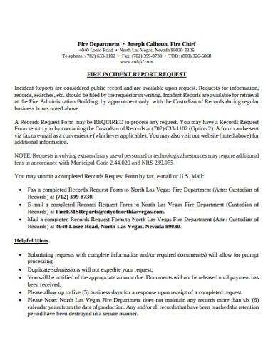 fire incident report request