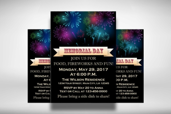 fireworks night memorial day invitation