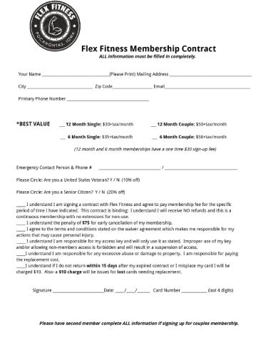 flex fitness gym membership contract