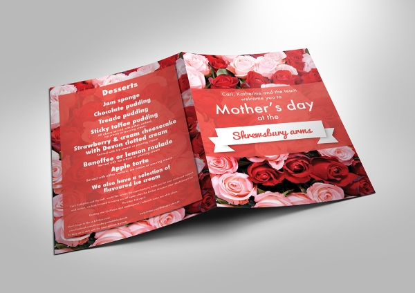 floral mothers day menu