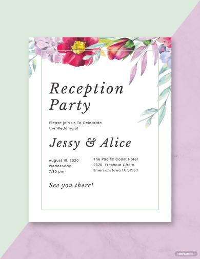 floral wedding reception program