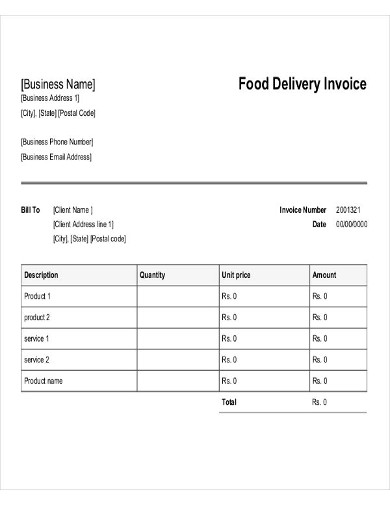 food delivery invoice