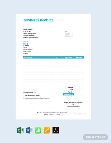 free basic business invoice