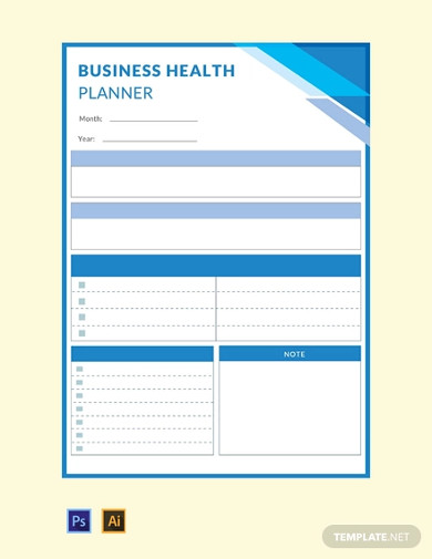 free business health planner template