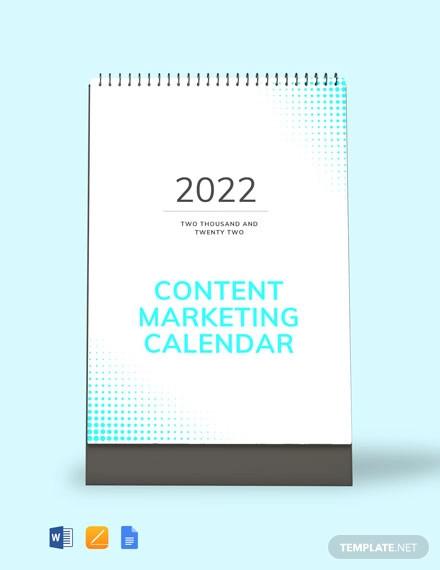 free content marketing desk calendar template