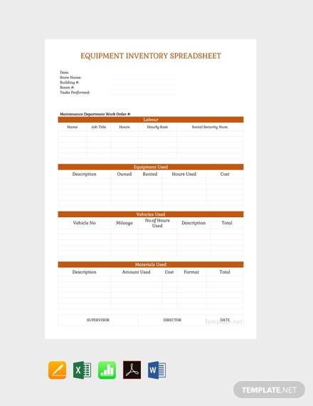 free equipment inventory spreadsheet
