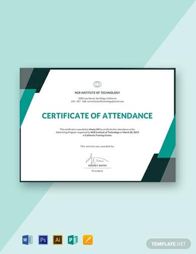 free event attendance certificate