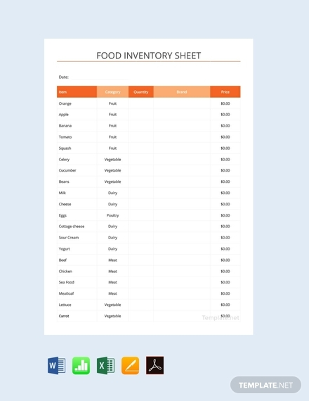 free food inventory spreadsheet template