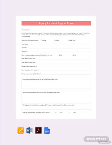free injury incident report form template