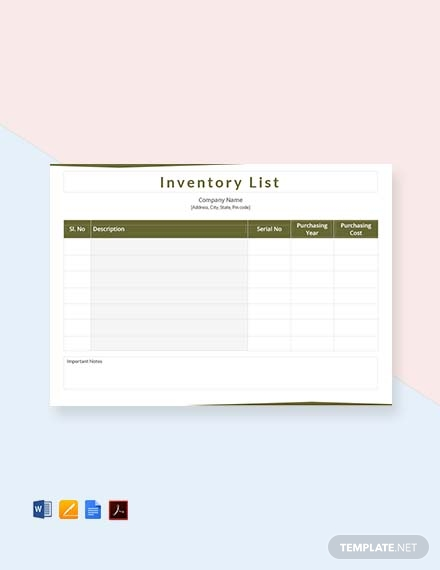 free inventory list template