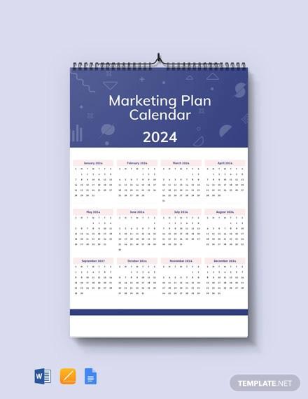 free marketing plan desk calendar template