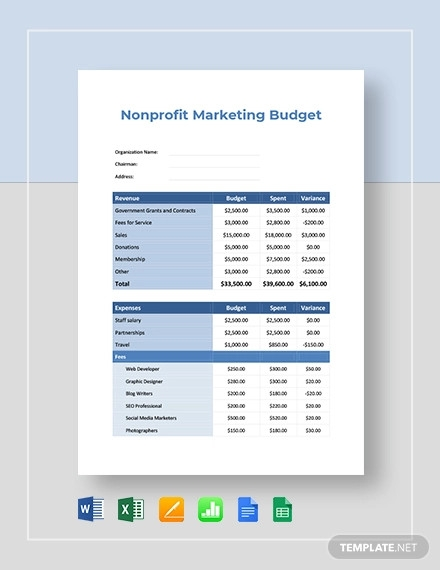 free non profit marketing budget template