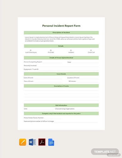 free personal incident report form template1