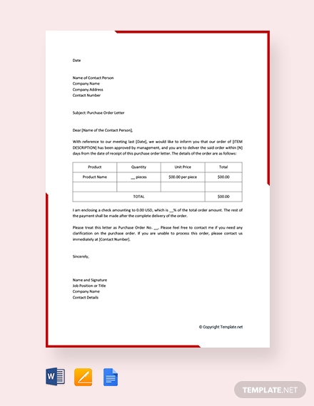 free purchase order letter