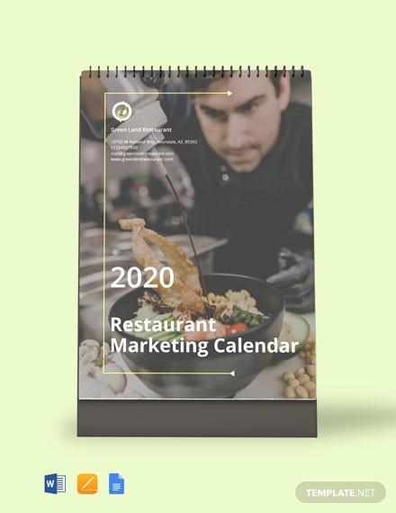 free restaurant marketing desk calendar template