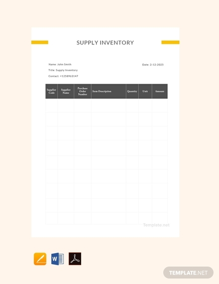 free sample supply inventory templat