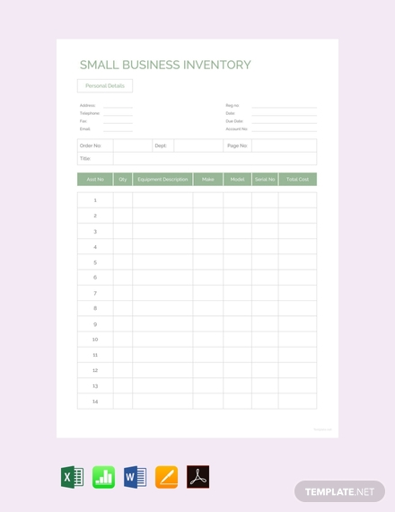 free small business inventory template