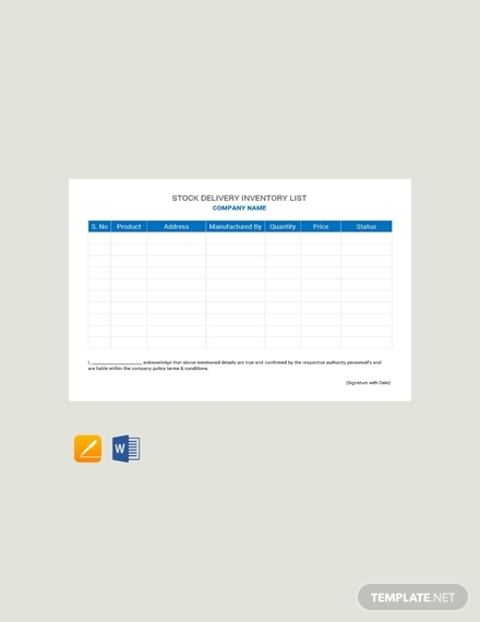 free stock delivery inventory list template1