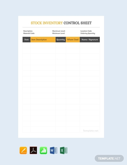 free stock inventory control spreadsheet