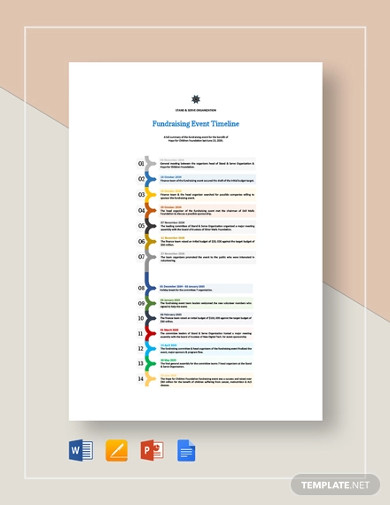 fundraising event timeline template