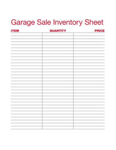 garage sale inventory sheet