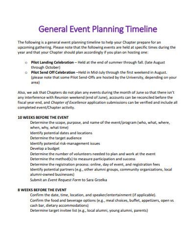 general event planning timeline