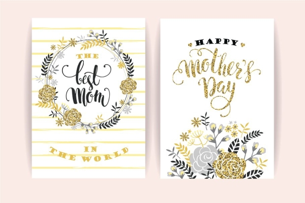 glittery mothers day greeting card