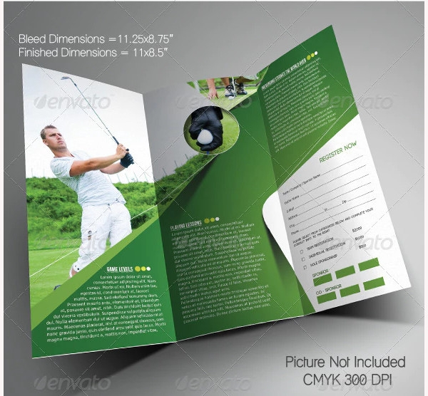golf event trifold brochure