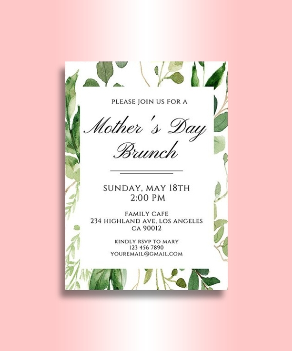 greenery mothers day invitation